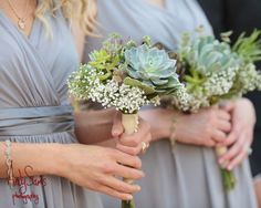Succulent and Baby's Breath Bridesmaid Bouquets - My Floral + Bouquet Photography - Wedding Pink Succulent, Succulent Bouquet, Diy Bouquet, Peonies Bouquet, Brooch Bouquets, Succulent Plants, Pink Peonies, Floral Wedding, Wedding Colors