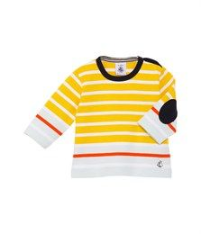 Unisex baby breton top in heavy jersey with stripe - Sunny Yellow