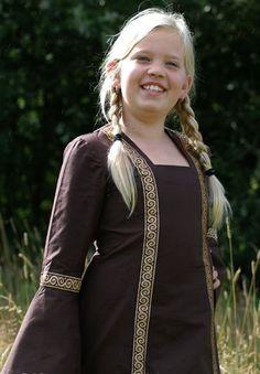 Katoenen jurk voor meisjes, 8-12 jaar, bruin