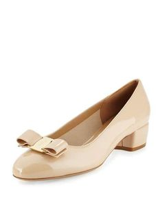 SALVATORE FERRAGAMO Vara 1 Patent Bow Pump, New Bisque. #salvatoreferragamo #shoes #pumps