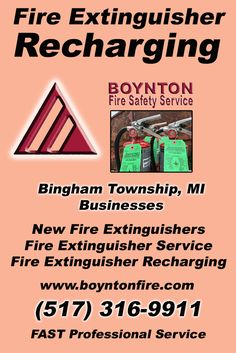 Fire Extinguisher Recharging Bingham Township, MI.  (517) 316-9911 Check out Boynton Fire Safety Service.. The Complete Source for Fire Protection in Michigan. Call us Today!