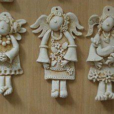 vizovicke testo / made from salt dough Salt Dough Crafts, Salt Dough Ornaments, Clay Ornaments, Christmas Craft Fair, Christmas Decorations To Make, Clay Projects, Clay Crafts, Clay Angel, Pottery Angels