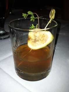 Moroccan Manhattan (date infused buffalo trace whiskey, sherry, house Moroccan bitters)