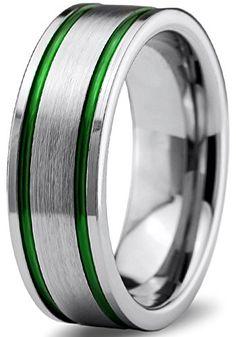 Tungsten Ring Blue Black Wedding Band Brushed Carbide 8mm Female Mens Engagement Anniversary Matching Set