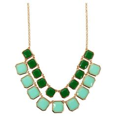 Double strand necklace with decorative green and aqua stones.     Product: NecklaceConstruction Material: Metal ...