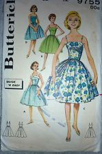 VINTAGE 1950'S BUTTERICK 9755 SEWING PATTERN EASY MAKE DRESS NARROW STRAPS SZ 12