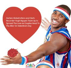 Harlem Globetrotter superstars Wun Versher and Thunder Law will be passing out red roses and welcoming couples heading for the altar on Valentine's Day with the Orange County Clerk-Recorder