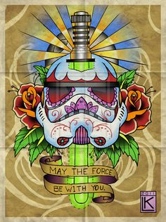 Star Wars Sugar Skull by larsonkilstrom on deviantART traditional lightsaber flowers Tattoo Flash Art ~A.R.