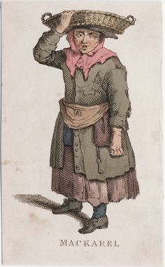 Makarel seller, apron and pocket tied over coat, England cca 1800, Lewis Walpole Library Digital Collection