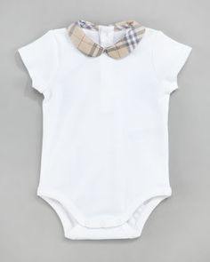 Check-Collar Bodysuit by Burberry at Neiman Marcus.