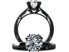 Victorian inspired 14k black gold Engagement Ring Solitare Ring 1.25 ct VVS White Sapphire W22WS14BK on Etsy, $890.00
