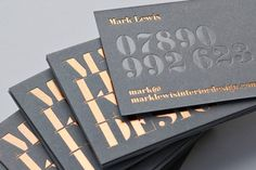 Mark Lewis Interior Design copper foil business cards designed by Everyone Associates. Awesome type and awesome color! Foil Business Cards, Letterpress Business Cards, Unique Business Cards, Creative Business, Embossed Business Cards, Web Design, Print Design, Design Firms, Design Art