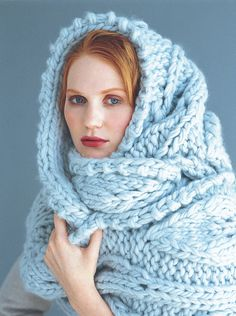This looks cozy. I want one. • blue sky alpacas (vogue knitting pattern) wrap scarf made from bulky hand dyed yarn in frost w/ size 19 needles, two strands held together • tanis knits