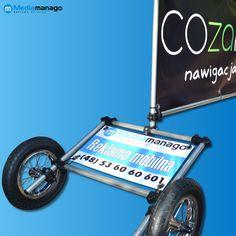 Do zaoferowania mamy przyczepki reklamy banerowej, z możliwością budony na niej reklamy mobilnej do noszenia na plecach
