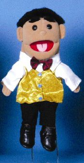 """This adorable young boy puppet will quickly grow on you. He has short """"fuzzy"""" black hair. The boy puppet is completely dressed in a white dress shirt, an adorable shiny gold vest, a maroon bow-tie, black dress pants, and a pair of black dress shoes. People Puppets, Gold Vests, Glove Puppets, Black Dress Shoes, White Dress, Dress Gloves, Young Boys, Black Hair"""