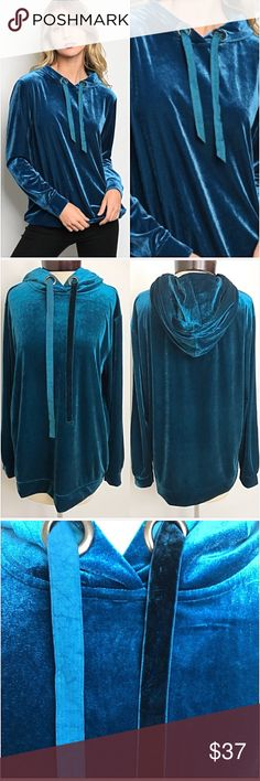 """BLUE ICE Soft Velvet Hoodie Top S/M NEW Amazingly soft & beautiful teal crushed velvet hoodie. Dress up or down. You will never want to take this off. Relaxed oversized slouchy cozy fit. Knit  Small (Will Fit M) Bust 40"""" Length 28"""" Tops"""