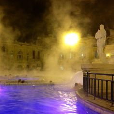 Dive into the outdoor pool of Széchenyi Bath in a snowfall then relax in the pleasantly warm water while clouds of steam linger in the air.