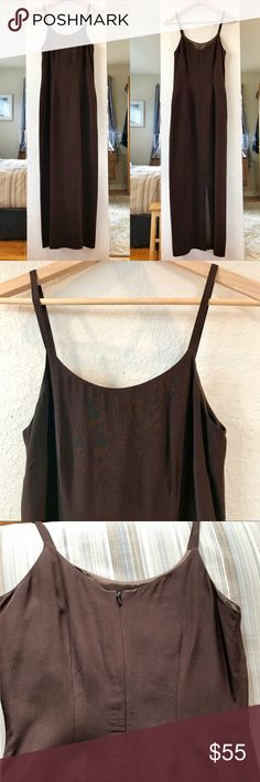"""LAURA ASHLEY cami strap gown in 100% silk. Vintage Subtle, classy, rich, divine and sooo silky, a simple and elegant camisole strap gown by Laura Ashley.  I've gone over every square inch and it's in perfect condition. The contrasting dark olive green lining is gorgeous.  On the hanger it measures 54.25@ from shoulder (top of strap) to hem, 15.5"""" just under arms. I'm about a 34C bra size and it's a bit too small for me. You'd want to be a 34B or smaller to enjoy this. Laura Ashley Dresses…"""