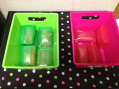 Put all the crayons in travel soap boxes, holds 12 crayons. Students collect these tubs when crayons are needed for an activity. She uses the pencil boxes students bring to house markers and scissors, those are also only collected by students when the activity is necessary. Lots more good ideas.