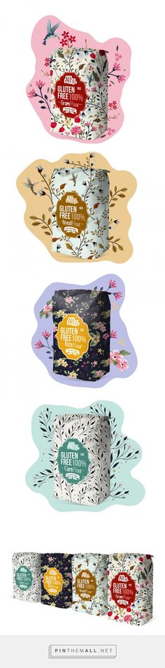 Allis Gluten Free packaging design by MAISON D'IDÉE curated by Packaging Diva PD. Wow, what flour packaging! Food Packaging Design, Pretty Packaging, Packaging Design Inspiration, Brand Packaging, Graphic Design Inspiration, Graphisches Design, Label Design, Package Design, Graphic Design Branding