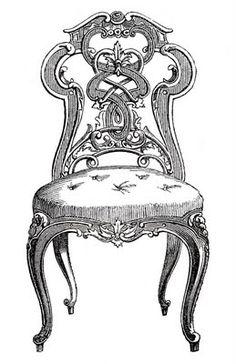 Vintage Clip Art - Pretty Paris Tufted Chairs - The Graphics Fairy