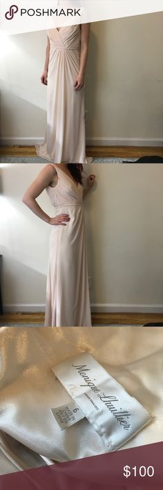 Monique Lhuillier Bridesmaid Pale Pink Maxi Dress Gorgeous gown by ML and is a bridesmaid edition. Pleats along the bodice and a long Maxi bottom- zipper closure and is lined inside! Size 6 and is very flattering on a figure. Has a small spot that is photographed and most likely dry cleanable. I'm 5,5 and don't have heels on! Monique Lhuillier Dresses Wedding
