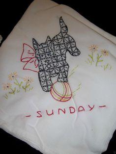 Sweet Vintage Scottie Dog 6 Days of The Week Hand Embroidered Huge Tea Towels |