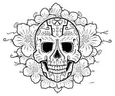 printable coloring pages of skulls and roses deviantart more like sugar skull by Skull Coloring Pages, Mandala Coloring, Coloring Book Pages, Printable Coloring Pages, Mandala Art, Mandala Rocks, Dibujos Sugar Skull, Altar, Sugar Scull