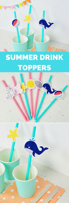 Summer Ocean Drink Toppers Free Printable Tags. Cute way to celebrate summer with kids!