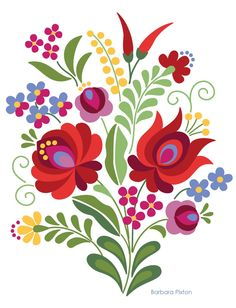 Hungarian Embroidery Patterns Hungarian Folk Art Red Rose and Peppers Hungarian Embroidery, Folk Embroidery, Learn Embroidery, Hungarian Tattoo, Embroidery Stitches, Art Floral, Motif Floral, Folk Art Flowers, Flower Art