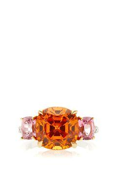 One Of A King Cushion Cut Mandarin Garnet Ring by Paolo Costagli for Preorder on Moda Operandi