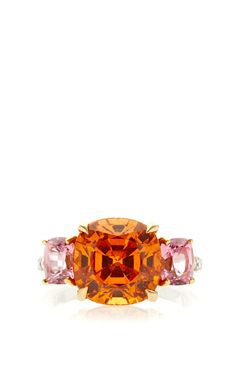 One Of A King Cushion Cut Mandarin Garnet Ring by Paolo Costagli for Preorder on Moda Operandi