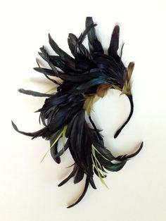Midnight Flight oversized Fascinator Feather Headpiece by katieburley Feather Headpiece, Feather Headband, Fascinator Hats, Fascinators, Headpieces, Headband Hair, Bird Costume, Raven Costume, Love Hat