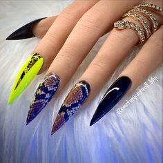 Dnd Gel Polish, Image Nails, Neon Nails, Press On Nails, Python, Beauty, Nail Art, Nail Manicure, Fingernail Designs
