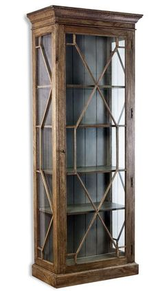 Cielo French Gray Modern Rustic Display Curio Cabinet