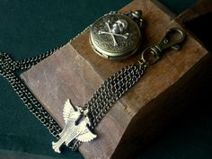 Men's Pocket Watch with Silver Skull and Egyptian by LeBoudoirNoir, $70.00