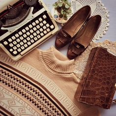 Look of the day... Typewriter - R350 It's Just Your Luck teacup succulent - R65 Pereira Vintage shoes - R230 Vintage handbag - R95 Thrift Scavenger vintage jersey - R165