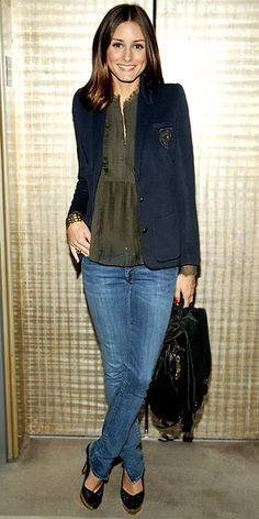 Olivia Palermo in a crested blazer, sheer top and skinny jeans; accessorized w/ a CC Skye bag & Charlotte Olympia pumps : Look of the Day - September 26, 2010 : InStyle