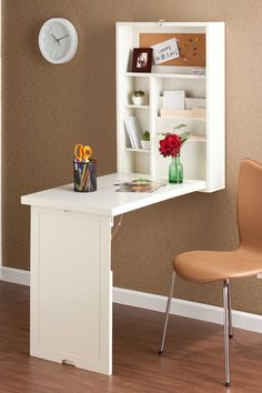 Such a great design, more compact than a formal secretary desk but just as functional. Fold-out Convertible Desk - Winter White on HauteLook