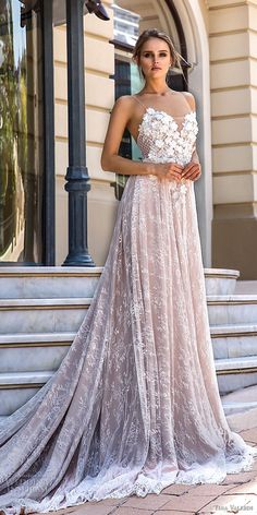 tina valerdi 2019 bridal spaghetti strap sweetheart neckline full embellishment romantic blush modified a line wedding dress open back chapel train (15) mv