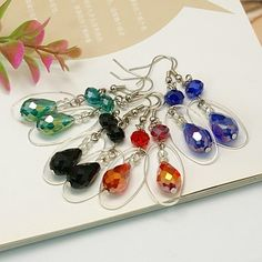 Sparkling Glass Earrings, with elegant appearance.
