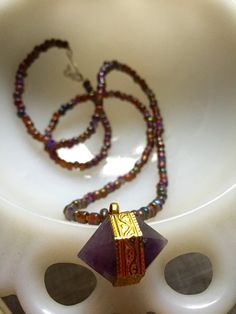 This Amethyst Prism Necklace has two prisms to bring you double the spiritual growth, insight, and protection while it beautifies. How cool is that? It's OOAK, and only available at TroppoBella on Etsy for only $42! ~ETS #troppobella ***SOLD!