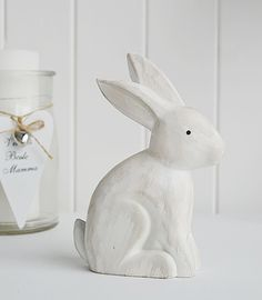 White Home Accessories From The White Lighthouse A Wooden White Rabbit