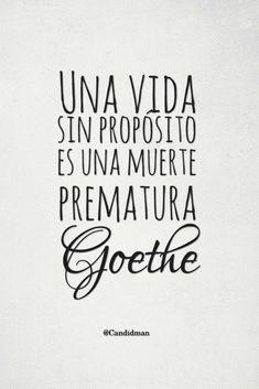 """""""Una #Vida sin #Proposito es una #Muerte prematura"""". #Goethe #FrasesCelebres @candidman"""
