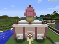 Minecraft Pink House with Porch and Balcony | Minecraft ...