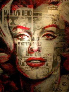 Marilyn Monroe, Her Image Silkscreened over the Newspaper Headlines of Her Death. Collage Art, Poster Art, Vintage Art.