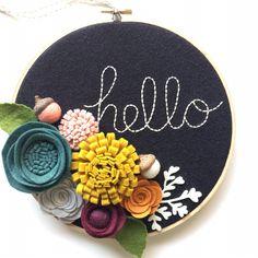 Embroidery Hoop Art Wall Art Hello 3 dimensional felt by nolaandvi Embroidery Hoop Crafts, Wooden Embroidery Hoops, Embroidery Hoop Art, Etsy Embroidery, Embroidery Ideas, Felt Flower Wreaths, Felt Wreath, Felt Flower Diy, Felt Flower Tutorial