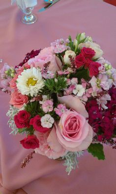 Pink wedding bouquet, Roses, Sweet William, Spray Roses, Stocks, Calycina, Dusty Miller, scented Geranium #wedding #florist #fleurie #reedleyflorist #fresnoflorist #sangerflorist #bridesbouquet #pink #hotpink #theGrand1401 #fresno