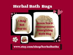 Bath and Beauty, 3 Herbal Bath Bags, Green Tea & Pomegranate Energizing Bath Bag, Bath Set, Home Spa, Relaxation, Herbal Gift Set by HerbalBaths on Etsy