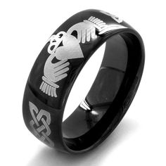 Black-plated Stainless Steel Men's Claddagh Ring - Overstock™ Shopping - Big Discounts on West Coast Jewelry Men's Rings
